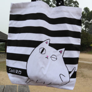 Itchy Cat A4 Size Tote Bag Neko Sankyodai Black and White Large For Cat Lover